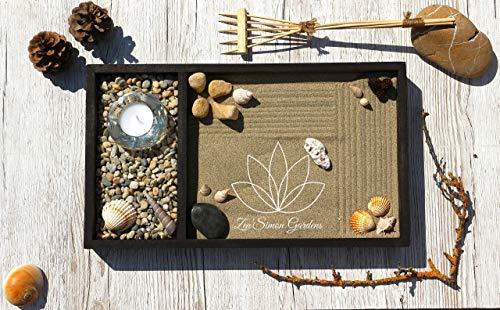 Zen garten Miniatur Ganz Aus Holz für Dekoration.Set Zubehör Sand Harke Muscheln Zensimongardens®