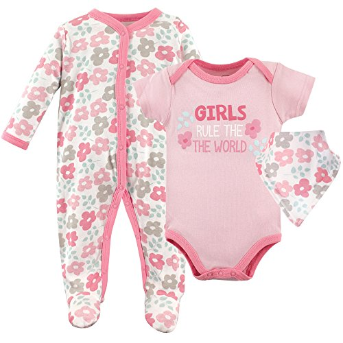 Friends Rule (Luvable Friends Baby Sleeper, Bodysuit and Bandana Bib Set, Girls Rule, 3-6 Months (6M))