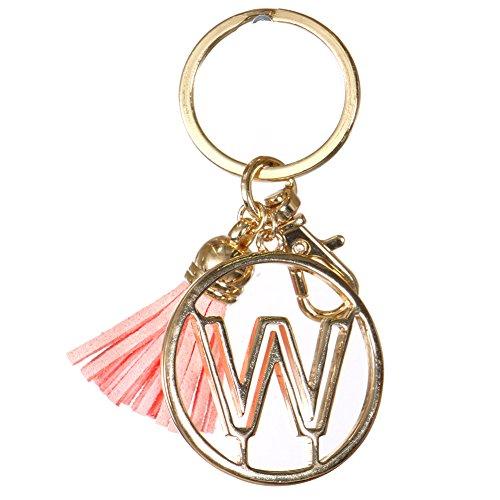 Crown Alphabet Initial Letter Keychain, Key Ring, Bag Charm w/ Tassel