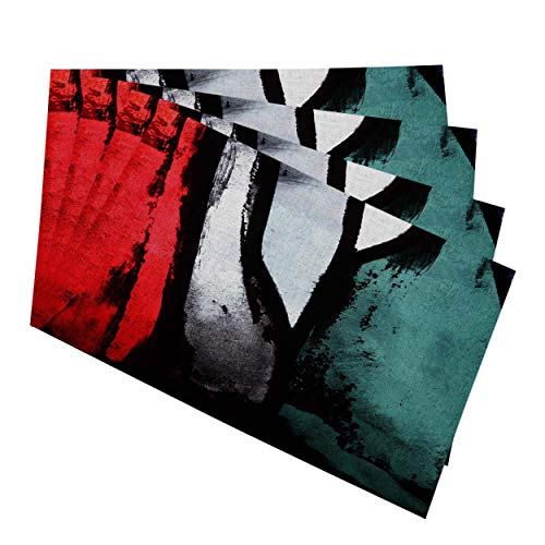 """Mugod Abstract Art Placemats Red Green Black White Multicolored Stained Glass Decorative Heat Resistant Non-Slip Washable Place Mats for Kitchen Table Mats Set of 4 12""""x18"""""""