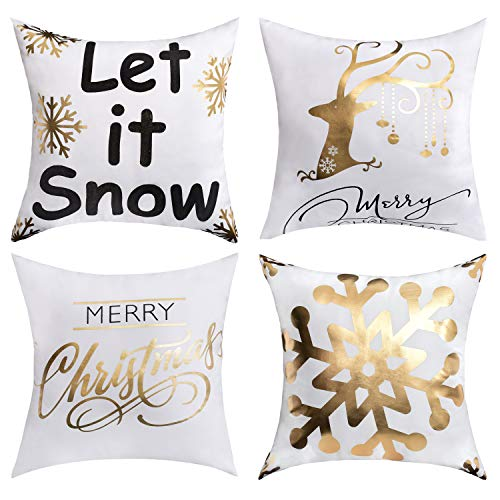 BLEUM CADE Christmas Theme Decorative Throw Pillow Covers Cushion Couch Pillow Cover for Home Office Car Sofa 18x18 inches