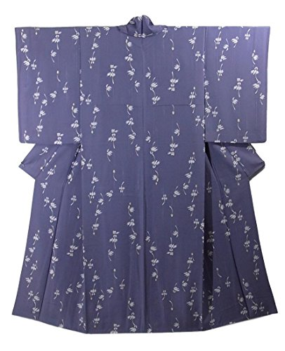 リサイクル 着物 小紋 正絹 袷 洋蘭の花模様 裄66cm 身丈163cm