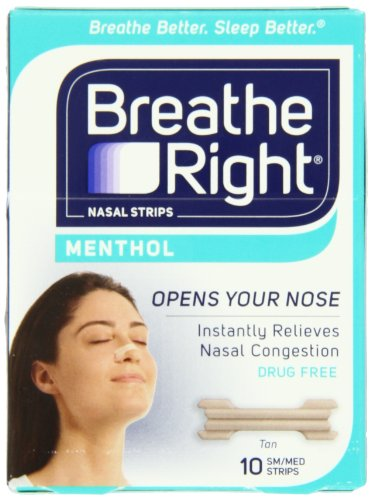 Breathe Right Nasal Strips, Mentholated, SM/MED, 10-Count by Breathe Right