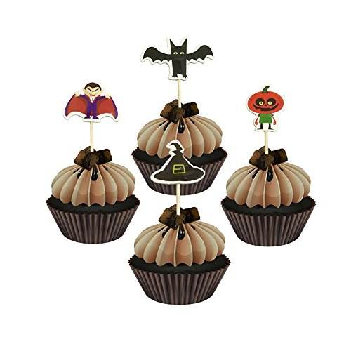 LITTLE FEATHER Halloween Decor Cupcake Toppers Bat Vampire Pumpkin Witch Design Toothpicks,Pack of - Vampire Picks