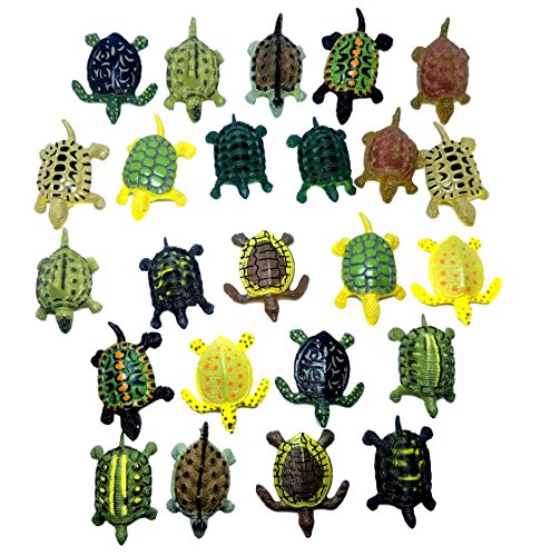Mini Turtle Action Figure Play Set, Assorted Colors, 24 ct (2 sets of 12)- For Kids Miniature Party Favors, Bag Stuffers, Pinata Fillers, Prizes, Counting Educational, Sensory Toy (Turtle Plastic)