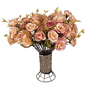 Garwarm 4 Branch 56 Heads Artificial Silk Fake Flowers Leaf Rose Wedding Home Office Floral Decor Bouquet with Iron Vase,(Lotus Color) 32