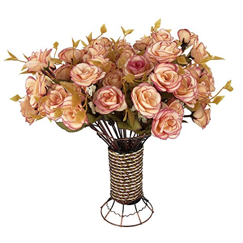 Garwarm 4 Branch 56 Heads Artificial Silk Fake Flowers Leaf Rose Wedding Home Office Floral Decor Bouquet with Iron Vase,(Lotus Color)