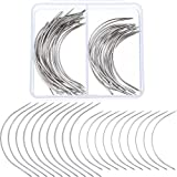 Boao 50 Pieces C Type Curved Needles Hand Sewing Needles Hair Weave Needles for Wig Making, Carpet Leather, Canvas Repairing, Modelling and Crafts
