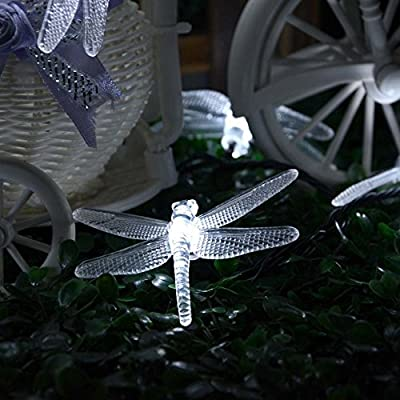 Qedertek Dragonfly Solar String Lights, 20ft 30 LED Waterproof Fairy Decoration Lighting for Indoor/Outdoor Home, Patio, Lawn, Garden, Party, Wedding, Seasonal Holiday, and Christmas (White) : Garden & Outdoor