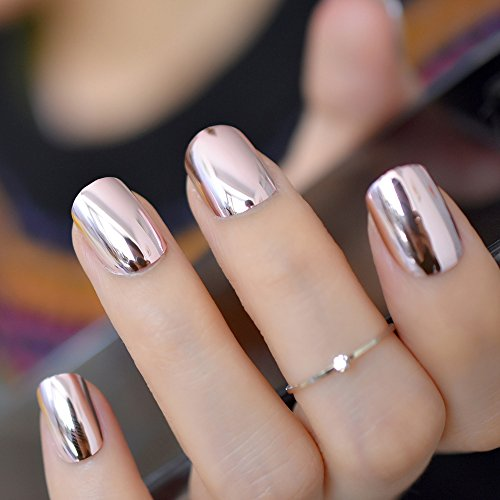 Mei&ling Coffee Brown Punk Style Metallic False Metal Plating Oval Round Fake Nails Acrylic Reflective Mirror Press On Nail Art Tips 24
