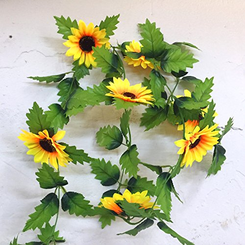 6' Long with 11 Flowers Artificial flowers Artificial Sunflower Garland Home DIY Floor Garden Office Party Wedding Decor