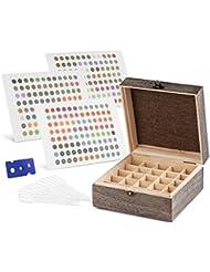 Wooden Essential Oil Storage Box Case - Essential Oil Bottle Holder Organizer + 288 Labels + Opener + 12 Pipettes - Foam Insert For Travel 25 Holds