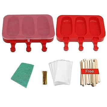 POLOFO 2 paquete de paletas de hielo moldes, moldes de polo de hielo de silicona bpa Free con palos y rojo cojín de fregado: Amazon.es: Equipaje