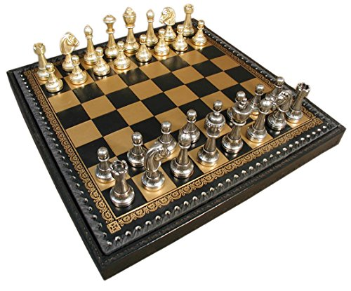 Italfama Staunton Metal on Leather Chest Chess Set