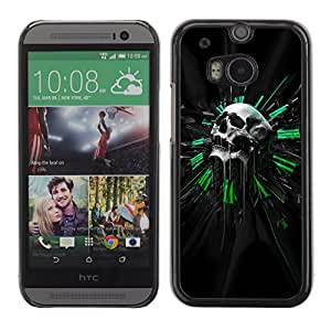 Impact Case Cover with Art Pattern Designs FOR HTC One M8 Green Sci Fi Skull Betty shop