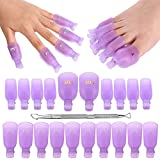[Faster Removal] Hekoy 21pcs Reusable Toenail and Fingernail Acrylic Gel Nail Polish Remover Clips Wraps With Cuticle Pusher