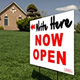 Large 24''x18'' - NOW OPEN Red & White Directional (Left or Right) Arrow Yard Sign / Lawn Signage w/ White Block for Writing - Printed Front & Back + 24'' Metal Ground Stake