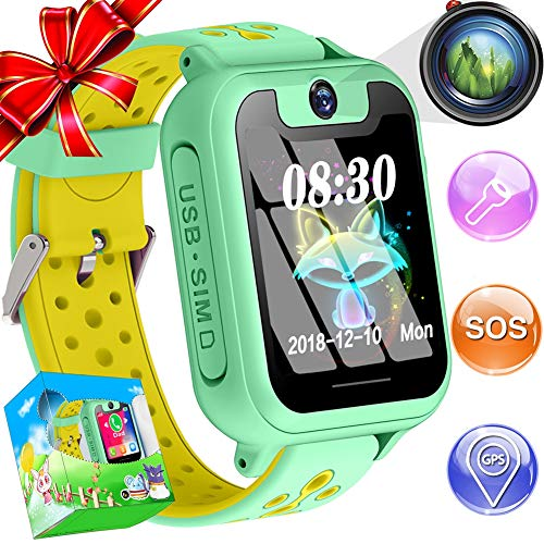 Kids Smart Watch Phone GPS Tracker Boys Girls Childs Smartwatch Touch Screen SOS Two Way Call Camera Electronic Learning Toys Outdoor Sport Cellphone Wristwatch Birthday Holiday Gifts