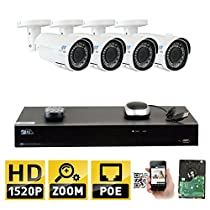 GW 8 Channel H.265 NVR 4-Megapixel (2592 x 1520) 4X Optical Zoom Network Video Security System, 4pcs 4MP 1520p 2.8-12mm Motorized Zoom POE Weatherproof Bullet IP Cameras, 130ft Night Vision