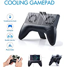 Mscrosmi Phone Radiator, 4 in 1 Multi-function gamepad, Phone Stand Holder, cooling fans, built in 2000mA Emergency Power. For Iphone Android and More Smartphone (Black)