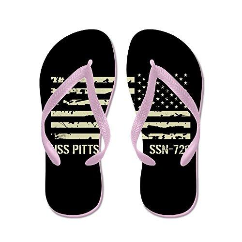 Cafepress Uss Pittsburgh - Flip Flops, Roliga Rem Sandaler, Strand Sandaler Rosa