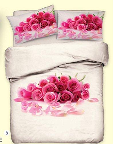 Offerta: Parure Copripiumino Alta Qualità Bouquet di Rose Rosa ...