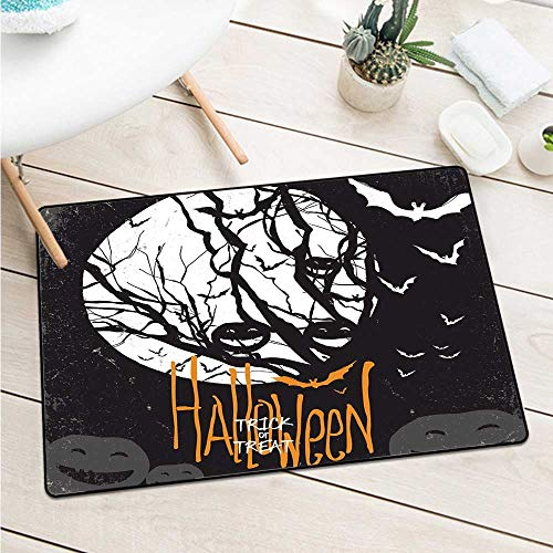 Vintage Halloween Welcome Door Mat Halloween Themed Image with Full Moon and Jack O Lanterns On A Tree Catch Dust Snow and Mud (W29.5 X L39.4 inch,Black -