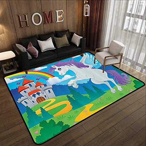 Low-Profile Mats,Kids Decor,Fantasy Myth Unicorn with Rainbow and Medieval Castle Fairy Tale Cartoon Design,Multicolor 47