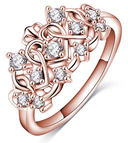 - TEMEGO 14k Rose Gold Vintage Princess Crown Ring,Small CZ Interlocking Cutout Open Heart Ring,Size 7