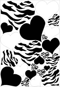 Hearts Zebra Print Black And White Heart