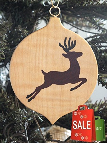 Reindeer, Christmas ornament, hand cut Marquetry wood (Marquetry Accents)
