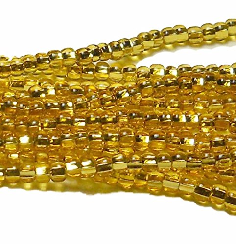 Glass Knitting Beads - Gold Light Topaz Silver Lined Czech 6/0 Seed Bead on Loose Strung 6 String Hank Approx 900 Beads