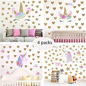 Unicorn Wall Decal,4 Packs Unicorn Wall Decor Stickers with Heart & Stars for Kids Girls Bedroom Nursery Home Party Favors …