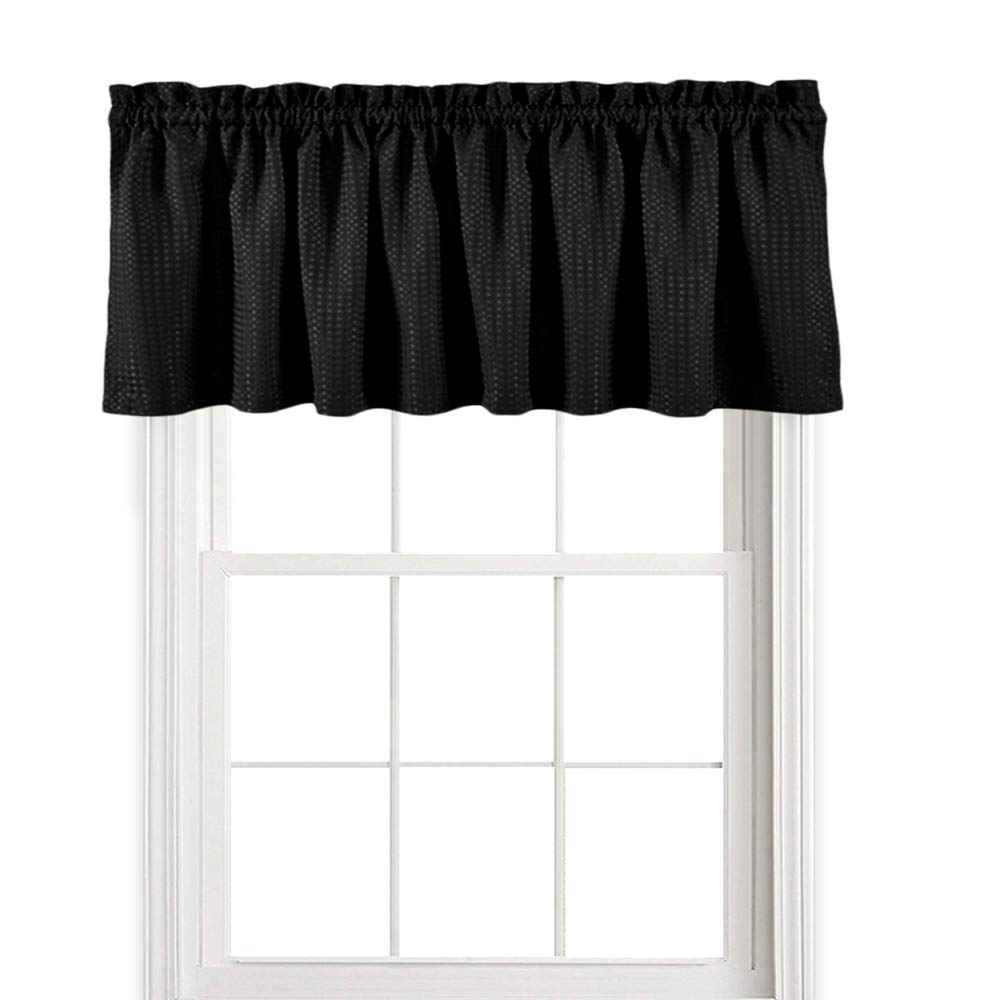 jinchan Waffle Woven Textured Valance for Bathroom Water Repellent Window Covering (60'' x 18'', Black, One Panel)