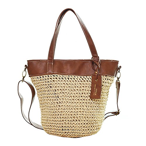 Handbag Bucket Cross Off JOSEKO Weaving Bag Bag Straw White Outdoor Women Body Casual dxA6Un68qw