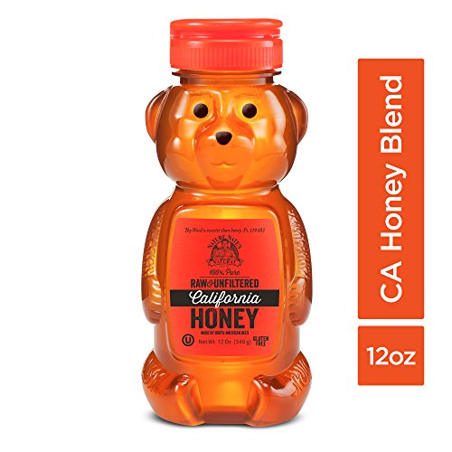 Nature Nate's 100% Pure, Raw & Unfiltered California Honey; 12-oz. Bear Squeeze Bottle; Certified Gluten Free and OU Kosher Certified; From California Bees, Enjoy Honey's Balanced Flavors and Goodness ()