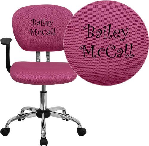 Mid-Back Mesh Embroidered Task Chair Arm Option: Included, Finish: Pink (Embroidered Back Mid Mesh)