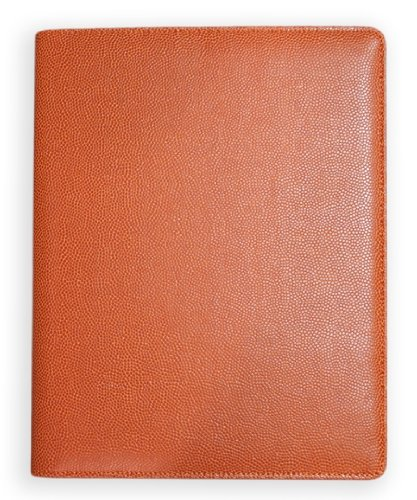 Zumer Sport Basketball Leather Notepad Portfolio - Made with Actual Ball Materials - Large pad Agenda Planner Book - Ruled Note Paper - Pen Holder - Business Card Holder - Orange