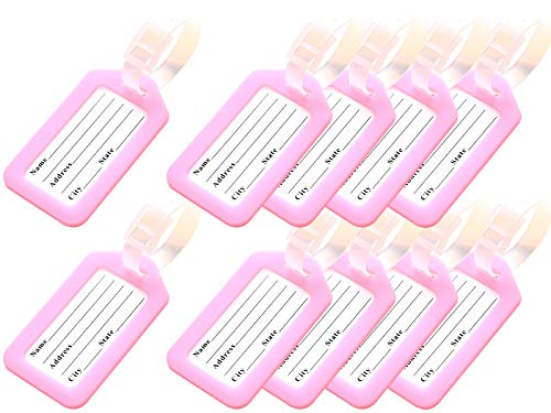 (Key Tags, Identifiers Labels For Luggage Suitcases Bags, PVC Travel Baggage Tag Set 10 Pack Color Pink)