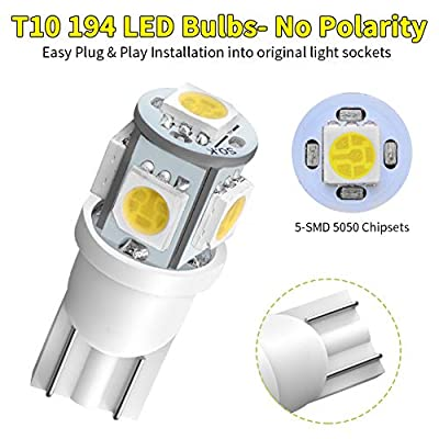 YITAMOTOR 194 168 T10 LED Bulb White, 2825 158 192 906 LED Replacement Light Bulb for Car Dome Map License Plate Lights Lamp, 5SMD, 12V, 10-Pack: Automotive