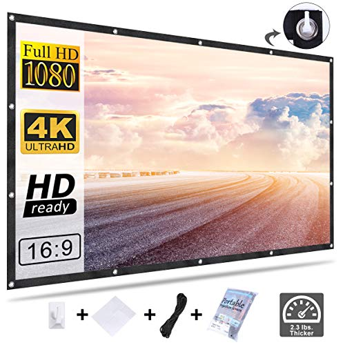 Projector Screen Movie Screen 120 Inch, Homemaxs 16:9 HD Foldable Anti-Crease Portable Projector Screen for Home Theater Indoor Outdoor Movie Screen Support Double-Sided Projection
