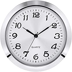Hicarer 2-1/8 Inch (55 mm) Quartz Clock Insert, Zinc-Alloy Metal Case, Arabic Numeral, White Face