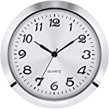 Hicarer 2-1/8 Inch (55 mm) Quartz Clock Insert, Zinc-alloy Metal Case, Arabic Numeral, White Face (Silver)