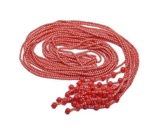 (JYX Five-Strand Long Pink Coral Necklace 2-3mm Round Coral Beads Tassel Jewelry For Women 50