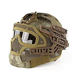LOOGU Fast Tactical Helmet Combined with Full Mask and Goggles for Airsoft Paintball CS