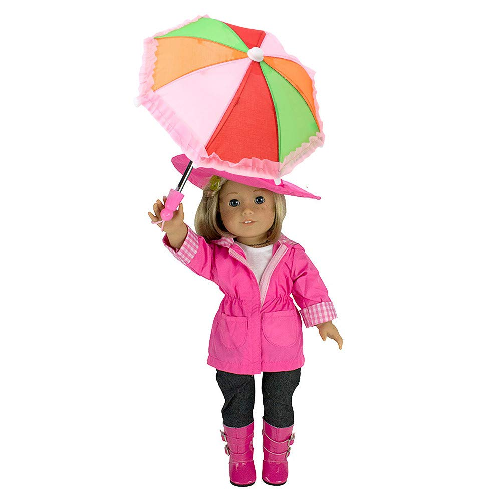 Wenini Dolls Umbrella, Umbrella Accessories for 18 inch American Girl /Baby Born Dolls Handmade Gift (Hot Pink ❤️)