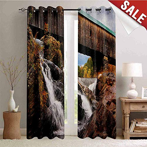 Landscape, Waterproof Window Curtain, Old Rustic Oak Covered Bridge Over Cascading Waterfalls Rock Fall Season American City, Decorative Curtains for Living Room, W96 x L108 Inch Brown