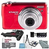 Polaroid iEX29 18MP 10x Digital Camera (Red) and Accessory Bundle W/ 16GB + Card Reader + Case + Xpix Tripod + Fiberitque Cleaning Cloth + Deluxe Starters Kit