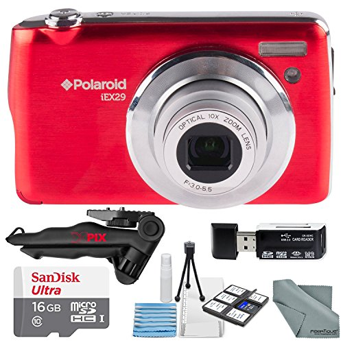 Polaroid iEX29 18MP 10x Digital Camera (Red) and Accessory Bundle W/ 16GB + Card Reader + Case + Xpix Tripod + Fiberitque Cleaning Cloth + Deluxe Starters Kit
