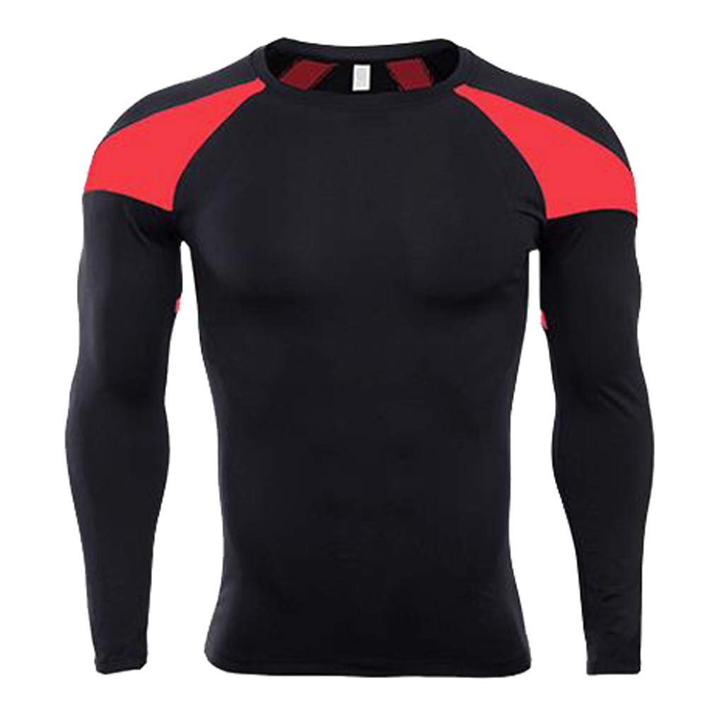 Forthery Men's Long Sleeve T-Shirt Cool Dry Compression Tops Sports Athletic Blouse(Red,Small)